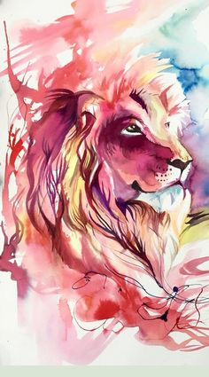 The Lion is very detailed even with watercolor and I like that because it's not the everyday typical lion painting you see. Animal Paintings, Animal Drawings, Art Drawings, Lion Wallpaper, Animal Wallpaper, Lion Painting, Painting & Drawing, Watercolor Lion, Watercolor Paintings