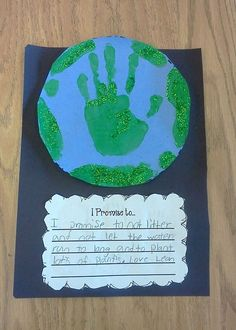 "Art / Writing:  ""I promise to..."" Earth Day writing prompt for elementary students. Used this in my classroom. Perfect FREEBIE for Earth Day!"