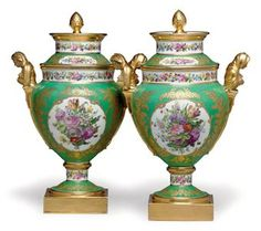 A PAIR OF PARIS PORCELAIN (FEUILLET) GREEN-GROUND ICE-PAILS AND COVERS CIRCA 1817-1834, GILT UPPERCASE MARKS FOR THE WORKSHOP OF JEAN PIERRE FEUILLET |  21 - 22 October 2010 New York, Rockefeller Plaza