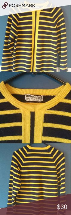 "Meister Knit vintage navy/yellow sweater 100% wool made in Austria. Bold mod style stripes, crew neck. Navy and yellow. Fantastic vintage sweater. I'm only selling because my arms are too long. (I'm 5'10"") Measurements (flat): Bust: 17"" Waist: 17"" Hips: 18"" Length: 25"" Sleeve: 23"" shoulder to wrist meister knit Sweaters Crew & Scoop Necks"