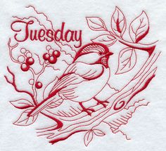 Machine Embroidery Designs at Embroidery Library! - Tuesday Chickadee (Redwork)