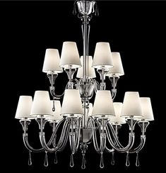 Two Layer Vanilla Murano Chandelier Modern Chandelier, Chandelier Lighting, Rustic Kitchen Lighting, Modern Farmhouse Lighting, Lampshade Chandelier, Murano Chandelier, Cool Lighting, Modern Lighting, Chandeliers
