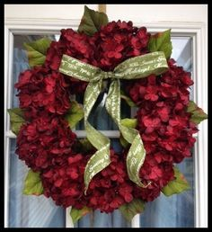 Red Hydrangea Wreath - Christmas Wreath - Holiday Decorating Ideas - Front Door Wreath for Christmas - Winter Wreath