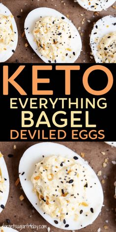 Keto Everything Bagel Deviled Eggs Keto BAGEL inspired deviled eggs! Think all deviled eggs are the same? Think again! These keto cre Low Carb Keto, Low Carb Recipes, Diet Recipes, Healthy Recipes, Slimfast Recipes, Healthy Food, Chicken Recipes, Healthy Heart, Keto Fat