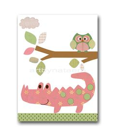 Baby Girl Nursery Decor Kids Wall Art Baby Decor nursery owl nursery print set of 3 Baby Girl Art turtle crocodile pink rose green childrens playroom decor *** UNFRAMED - THIS PRINT IS ON PAPER , OR ON CANVAS , OR ON STICKER PAPER ***717 863 864 To return to my shop, click here: