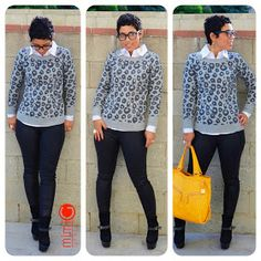 mimi g.: OOTD: Coated Jeans + Leopard Sweater