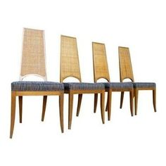 Pre-owned Caned Mid-Century Walnut Dining Chairs - Set of 4 - This set of 4 Mid-Century Modern walnut dining chairs will make any dining room look ten times better. The stunning caned, high backs are our favorite part about these beauties because it gives them a whole lot of personality. The upholstery is also a ton of fun and the multi-color quality will allow them to fit in with most color schemes.     They are great condition, although there are a few teeny breaks here and there, but not…