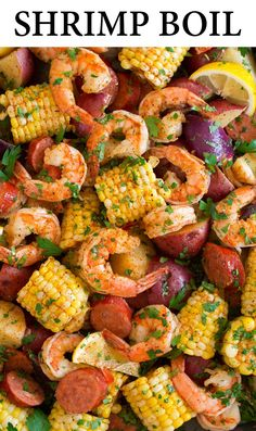 Shrimp Boil - A Southern favorite that includes tender shrimp, hearty potatoes, flavorful sausage, and sweet corn all boiled together in one big pot. An easy, delicious classic! #shrimpboil #southernrecipe #shrimp Chef Recipes, Fish Recipes, Cooking Recipes, Healthy Recipes, Shrimp Recipes, Cajun Shrimp Boil Recipe, Shrimp Boil Party, Crowd Recipes, Recipes