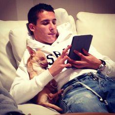 Cristian Tello With His Puppy