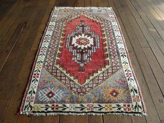 1x3 Vintage Turkish Oushak Hand Knotted Rug
