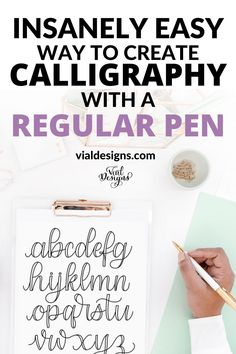 Learn how to create calligraphy using a regular pen the easy way with this step by step calligraphy and hand lettering tutorial | Hand lettering tutorial for beginners | Calligraphy with a regular pen step by step tutorial | Faux Calligraphy tutorial for beginners | Learn faux calligraphy | What is fauxligraphy and how to create it #learncalligraphy #learnlettering #fauxcalligraphy #vialdesigns Hand Lettering For Beginners, Calligraphy For Beginners, Calligraphy Tutorial, Hand Lettering Tutorial, Calligraphy Practice, Hand Lettering Alphabet, Hand Lettering Quotes, Cursive Fonts, Learning Letters