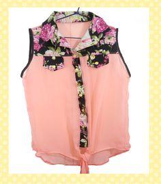 Blusa Coral Con Detalles de Flores - Polos   TuCloset.com