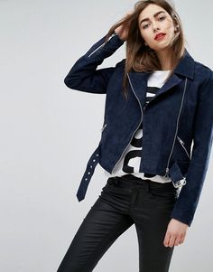 Amazing navy blue suede perfecto style jacket for rock minimal outfit