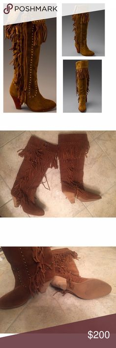 """Jeffrey Campbell """"Dallas"""" Suede Fringe Boots JEFFREY CAMPBELL """"Dallas"""" Slouch Boots / Can be worn over-the-knee or slouchy(refer to last photo...that is just a image I found online to show how they can be worn - mine are in even better condition) / NEW CONDITION, NEVER WORN / Camel suede boots feature scalloped detailing with tons of fringe and metal studs / Adjustable buckle at top to let you wear tall or slouchy / Originally Purchased from Free People Jeffrey Campbell Shoes Over the Knee…"""
