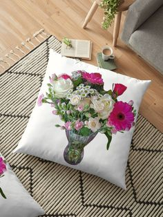 A glass vase of flowers. There are pink gerberas, pink carnations, white daisies, white roses, and red roses. A transparent backdrop allows the natural color of the flowers to pop. Throw Pillows Bed, Floor Pillows, Decorative Throw Pillows, Red And White Roses, Red Roses, Floral Cushions, Flower Vases, Flowers, Pink Carnations