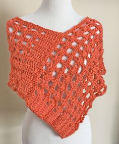 Crochet Poncho, Women's Spring Summer Coverup, Beach Poncho Coral Persimmon Color by SwanJay on Etsy
