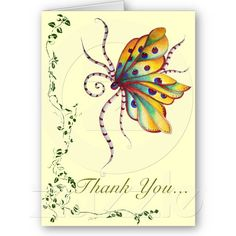 Unbelievable Butterfly Thank You Note Card by SimonaMereuArt $2.80