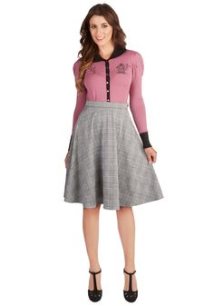 Ready Thready Skirt. When you need a lovely look in a flash, this plaid skirt will always to lend a stylish hand! #grey #modcloth