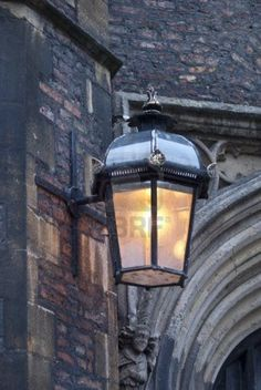 Old lantern at the street of Cambridge.
