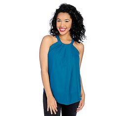 725-569 - The Countess Collection Knit & Woven Pleated Front Halter Tank Top