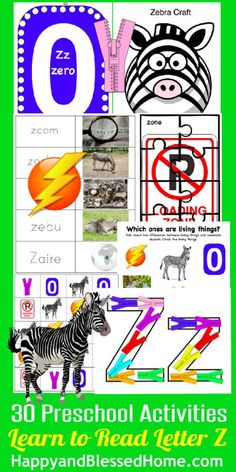 30+ Preschool Activities and 50+ FREE Printable Pages for Learn to Read Preschool Alphabet Letter Z from HappyandBlessedHome.com    teaching preschool   homeschool preschool   education worksheets   alphabet printables   homeschool education   learning the alphabet