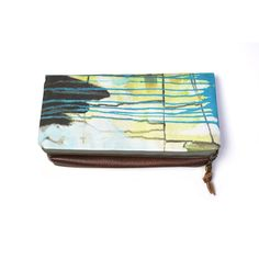 Saturday Morning foldover clutch // painterly foldover clutch in fabric with reclaimed leather base // fabric design by megan auman and handmade in the US by eclu