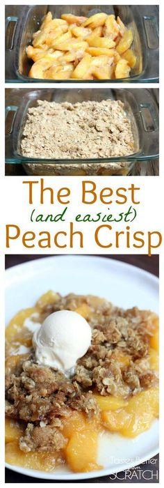 The yummiest Peach Crisp, made with fresh juicy peaches and a brown sugar/oat crumble topping. Recipe from TastesBetterFromScratch.com