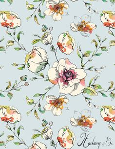 Katy Hackney - Orchard Blossom Wallpaper