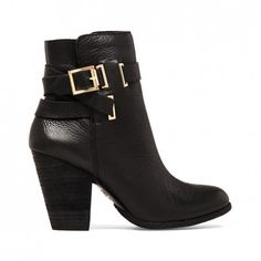 Women's Black Leather 3 1/2 Inch Leather Bootie | Harriet by Vince Camuto