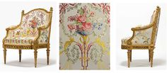A royal Louis XVI giltwood fauteuil en bergère — made for Marie Antoinette by François II Foliot, after a design by Jacques Gondoin in 1780, with sculpture by Pierre-Edme Babel or Toussaint Foliot | Christies