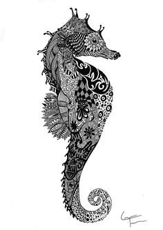 Seahorse. Game of Thrones Zentangle and more. By Telfer Zentangle.