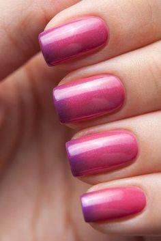 Beautiful nails 2016, Nails shellac gradient, Ombre nails, Pink and purple nails, Spring nail designs, Spring nail ideas, Two-color nails