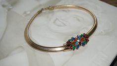 Vintage Gold Tone 1940's Coro Stretch Tubogas Multicolor Rhinestones Choker Necklace, Coro Jewelry, Designer Choker, Runway Fashion, Trend by LeTreasurelat on Etsy