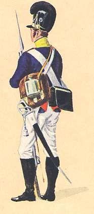 """NCO, 8th Line Infantry Regiment (Herzog Pius) in 1806.  From """"Der Bayerische Armee Sämtliche Uniformen von 1800-1873"""" by Johann B. Cantler."""