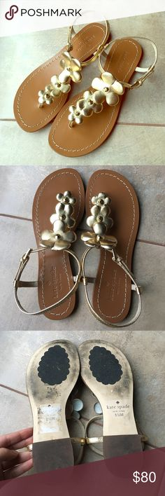 Kate Spade Flowers Sandal Barely worn. In excellent condition. No visible flaws except the bottom of shoes. Golden flowers leather. Beautiful summer sandals. Kate Spade Shoes Sandals