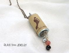 Barefoot Wine Cork Necklace by WirednFiredJewelry Wine Cork Jewelry, Dog Jewelry, Jewelry Crafts, Diy Jewellery, Jewelry Ideas, Wine Cork Crafts, Bottle Cap Crafts, Jar Crafts, Cork Necklace