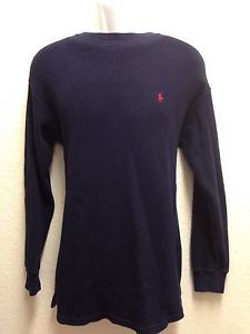 Polo Ralph Lauren Men's Navy Blue Ribbed Long Sleeve Thermal L Red Pony EXC | eBay