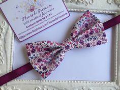 Noeud Papillon blanc et mauve/violet Tissu Liberty - homme : Cravates par fleurs-de-provence