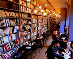 The cafe library at Merci, a concept store and installation space in Paris, France