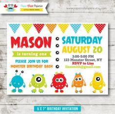 Monster Birthday Party Invitation / DIY Party Printables / First Brithday / Free Thank You Card (SBI12)