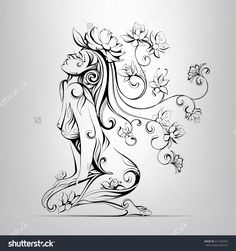 The Girl With Hair From Flowers Stock Vector Illustration 211105363 : Shutterstock