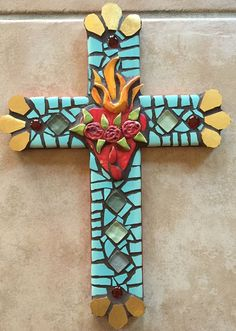 Sacred Heart Mosaic Cross