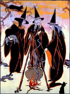 witch, macbeth ? vintage illustration