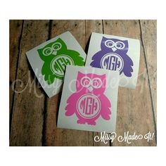 OWL Vinyl Decal Custom Initials Monogram Personalized Sticker - Monogrammed custom vinyl decals for car