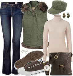 """""""Outdoorsy Contest - Sage and Brown"""" by amy-phelps ❤ liked on Polyvore"""