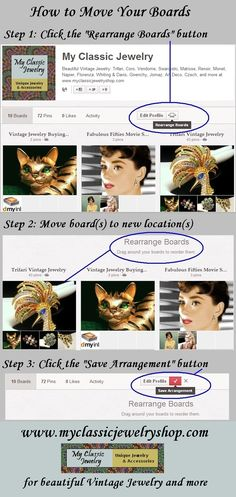 Learn how to move your boards around on your Pinterest page! Courtesy of www.myclassicjewelryshop.com