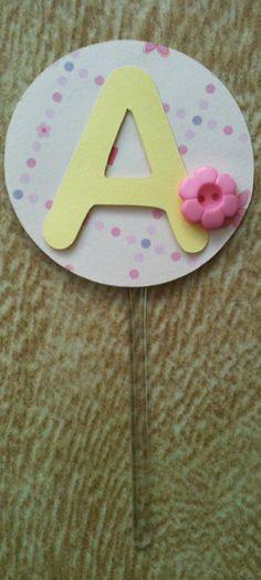 Topper docinhos - redondo A - Disponível todo o alfabeto