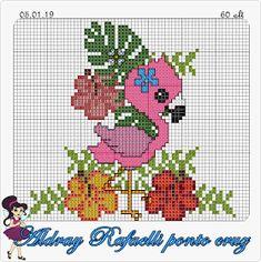 Ponto Cruz da Drayzinha Tiny Cross Stitch, Cross Stitch Flowers, Cross Stitch Charts, Cross Stitch Designs, Cross Stitch Patterns, Cross Stitching, Cross Stitch Embroidery, Diy Perler Beads, Flamingo Pattern