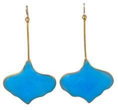 MWLC Poured Glass Gingko Earrings  France  1940's  Mark Walsh Leslie Chin Opaline Celeste blue poured glass earrings. Gingko form.