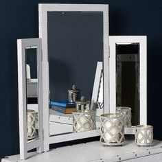 Glittery freestanding 3 way mirror embedded with clear shimmery gemstones. 2 Drawer Dressing Table, 3 Way Mirrors, Mirrored Bedroom Furniture, Table Dimensions, Beveled Mirror, Sparkles Glitter, Tri Fold, Clear Crystal, Oversized Mirror